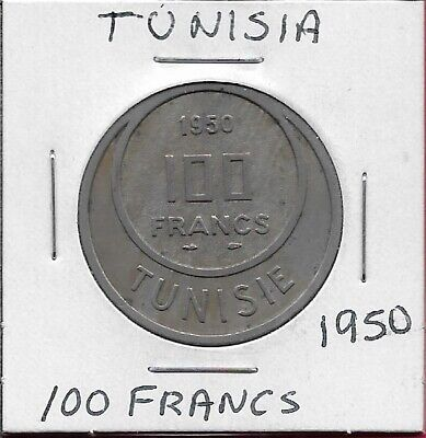 Tunisia French Protectorate 100 Francs 1950 Legend:muhammad Al-Amin,Dates With C
