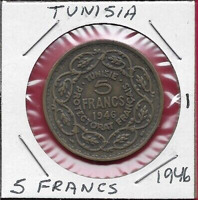 Tunisia French Protectorate 5 Francs 1946 1 Year Type,Legend:muhammad Al-Amin In
