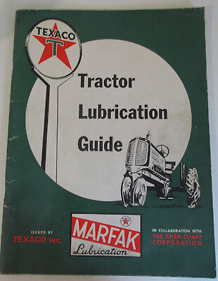 "1960 TEXACO Tractor Lubricant Guide Oil Chart Service Gas Station 12"" Original"