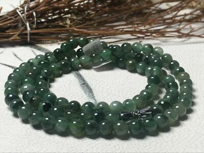 5.5mm 100% Natural A Oil Green Emerald Jade Beads ~Necklace Have certificate0931