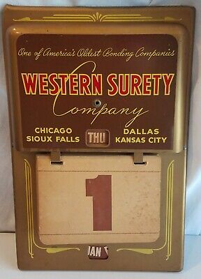 WESTERN SURETY Perpetual Wall Calendar Metal Sign Advertising Chicago Dallas KC