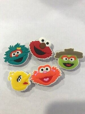 Sesame Street Characters 5pc Set SHOE CHARMS LOT FOR CROC SHOES
