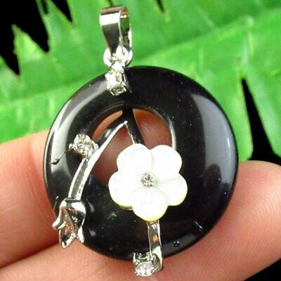 100% Natural Black Agate Round Shell Pave Crystal Pendant Bead M59595