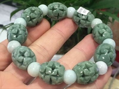 Chinese Exquisite Handmade flower Carving jadeite jade beads Bracelet1708