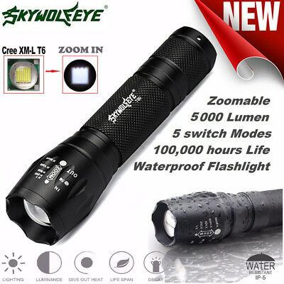 LED Flashlight G700 SkyWolfeye X800 Zoom Super Bright Military Grade UK