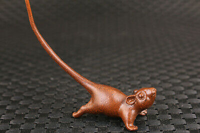 chibese old bronze hand carved lovely mouse statue collectable