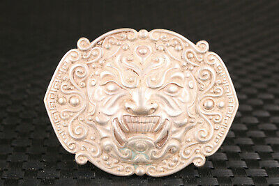 chinese old tibet silver hand carved lion statue buckle collectable