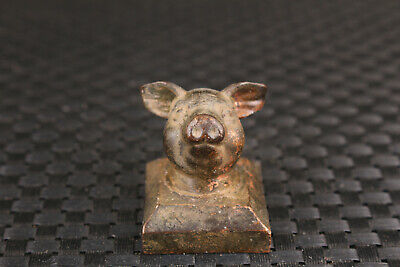 lovely old bronze hand carved  pigs eat statue figure seals collectable gift