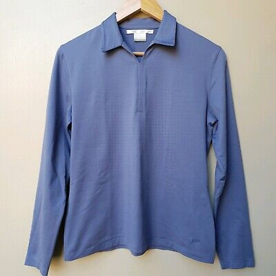 Nike Women's Dri-Fit Golf Long Sleeve Shirt Top Size Medium (8-10) Blue Stretch