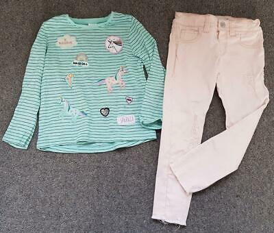 Girls 2 Piece Outfit, Unicorn Striped Top/Frayed Jeans, 2-3/3-4 Years