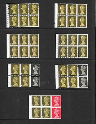 Machin pre decimal - 7 x 1d booklet panes - assorted perf types - unmounted mint