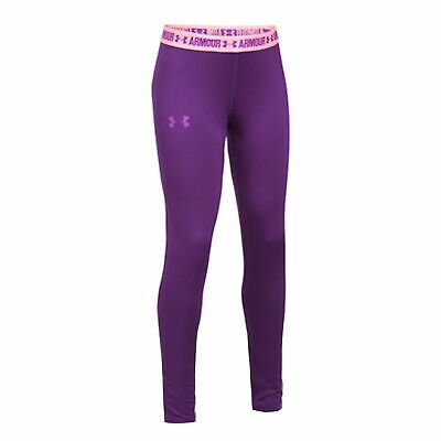 Under Armour Girls Heatgear Leggings Casual Gym Running Tight Purple 1271027 547