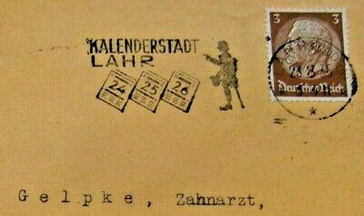 Calendar City of Lahr cover 1935  Germany STAMP WW2