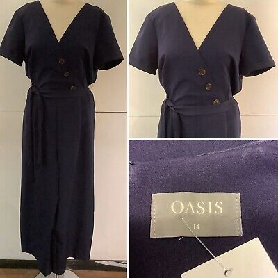 Preloved - Oasis Navy Culotte Jumpsuit - Size 14