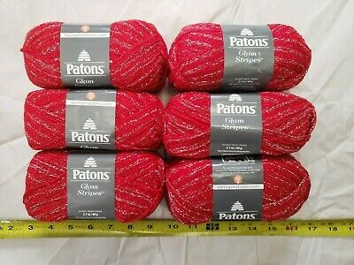 2 Skeins Patons Glam Stripes 2.1oz//60g 261 yds//239m 85/% Acrylic Christmas Red
