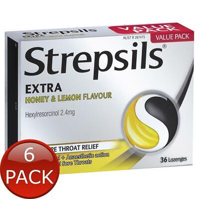6 x STREPSILS EXTRA HONEY AND LEMON FAST NUMBING SORE THROAT PAIN RELIEF WITH...