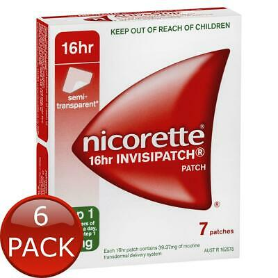 6 x NICORETTE 16HR INVISIPATCH PATCHES STEP 1 25MG 7 PACK