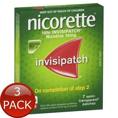3 x NICORETTE QUIT SMOKING NICOTINE 16 HOUR INVISIPATCH STEP 3 7 PACK