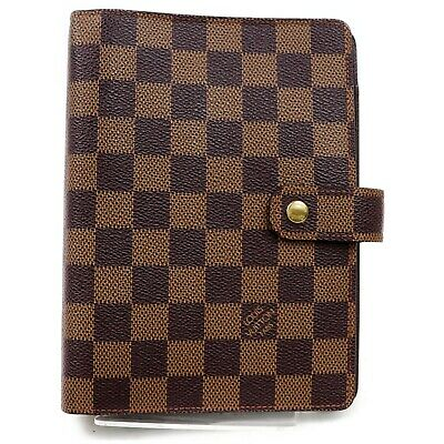 Authentic Louis Vuitton Diary Cover Agenda MM R20701 Browns Damier 1204531