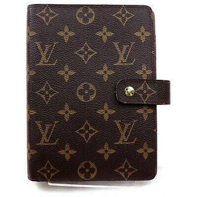 Authentic Louis Vuitton Diary Cover Agenda MM R20105 Browns Monogram 818722