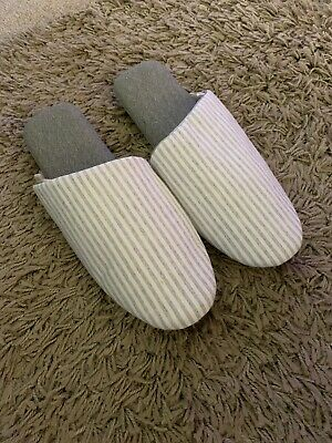Bnwt Ladies Grey Striped Next Comfy Mule Slippers Size Large