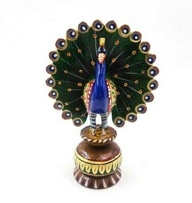Wooden Handmade Painting Peacock Statue Carving Sculpture Home Decor Figurine