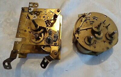 2 x Antique/Vintage Mantel Clock Movements - For Parts/Repair Only