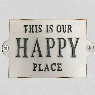This Is Our HAPPY PLACE Cast Iron Door Plaque Garden Gate Wall Sign Patio Decor