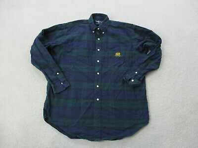 VINTAGE Ralph Lauren Polo Button Up Shirt Adult Medium Tartan Plaid Crest Mens