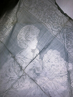 Unique Antique Figural Woven Scarf Title Age of Innocence Reynolds Handkerchief