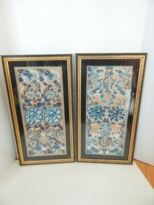 Framed Pair Antique Chinese Embroidery Sleeves Cuffs Forbidden Stitch MCM Frames