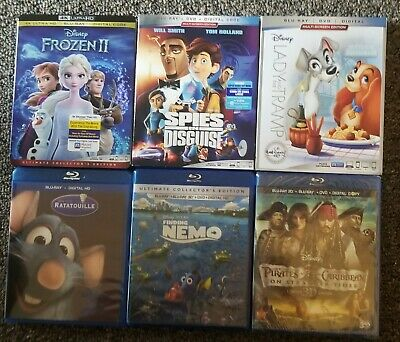 6 Disney Bluray Movies All No Digital Discs Never Played
