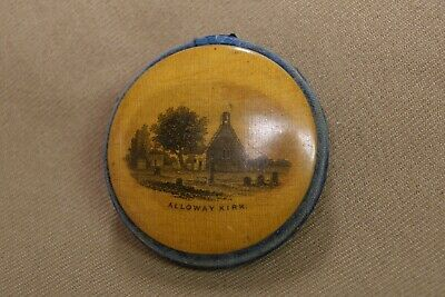 Antique Mauchline Ware Wood Needle Case Sewing Round Alloway Kirk Victorian