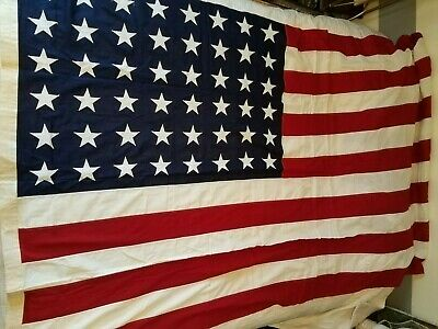HIGE WWII 48 Star US Flag American Flag 9.5'x5' Valley Forge co Sewn Nice