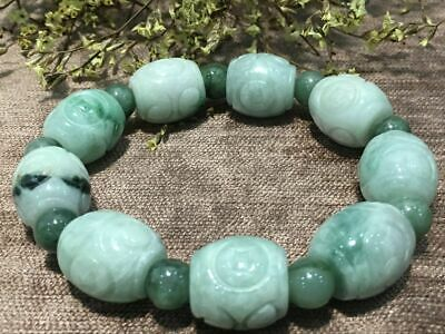 Chinese Exquisite Handmade Carving jadeite jade beads Bracelet certified2547