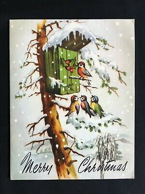 Vintage Collectable Greeting Card - c Late 1950s - Birds in Snow - Christmas