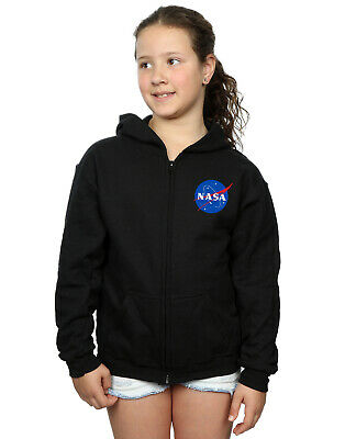 NASA Girls Classic Insignia Breast Print Zip Up Hoodie