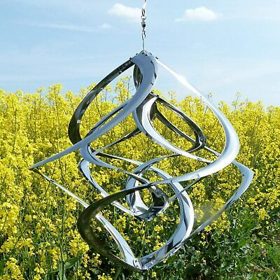 rostfreies Edelstahl Windspiel | Double-Hurrikan | Wind-Dancer | Twister - 30 cm