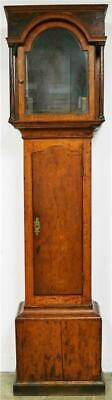 Antique English 19thc Solid Oak & Walnut Longcase Grandfather Clock Case