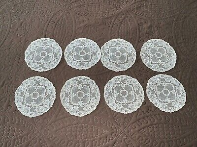 Lovely Set of 8 Antique Off White Floral Alencon Lace Cocktail Rounds Napkins