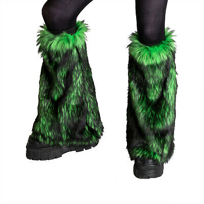 PAWSTAR Furry Leg Warmers - Fluffies Neon Rainbow Boot Cover Knee [RNNEON]2510