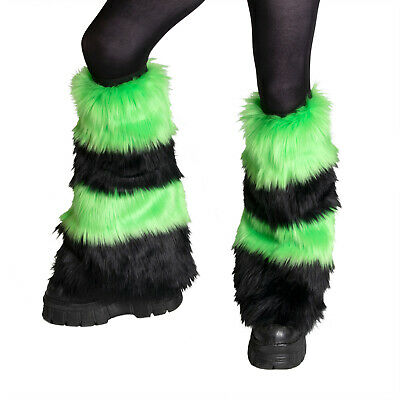 PAWSTAR Furry Leg Warmers - Fluffies Stripe Lime Green Black Covers [BKLI]2550