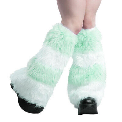 PAWSTAR Furry Leg Warmers - Fluffies Stripes Mint Green Pastel Covers [WHMT]2550