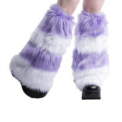 PAWSTAR Furry Leg Warmers - Fluffies Stripes Pastel Purple Lavender [WHLA]2550