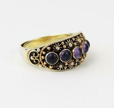 CHINESE SILVER Vintage GILT AMETHYST RING