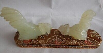 Vintage Chinese Asian Fighting Carved Jade Celadon Roosters Cocks Display Stand