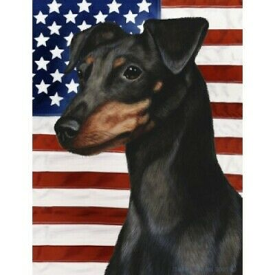 Patriotic (D2) House Flag - Uncropped Black and Tan Miniature Pinscher 32084