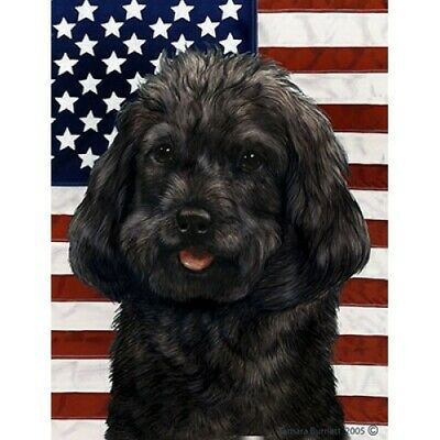 Patriotic (D2) House Flag - Black Cockapoo 32260