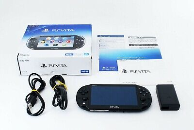 Sony PS Vita Black PCH-2000 w/ Charger and Box From Japan [Near Mint]