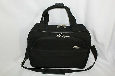 Ascot Overnight Carry On Travel Shoulder Strap Bag ~ Black Canvas ~ 2 Zippers
